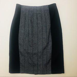 Karen Millen Gray & Black Pencil Career Skirt